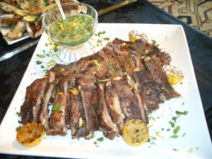Tandoori lamb ribs with three herb chutney